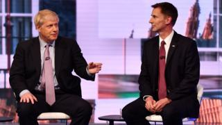 Boris Johnson (left) and Jeremy Hunt during the BBC Conservative Leadership televised debate on June 18, 2019