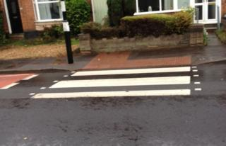 Half-finished zebra crossing
