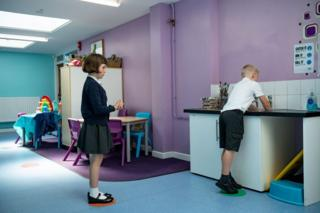 May 18, 2020 - Children abide by a traffic light system for social distancing when washing their hands at Kempsey Primary School in Worcester. Nursery and primary pupils could return to classes from June 1 following the announcement of plans for a phased reopening of schools.