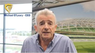 Ryanair boss Michael O'Leary speaks in a video to staff