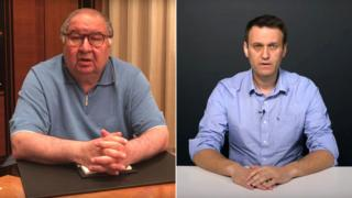 Russian tycoon Alisher Usmanov (l) and anti-corruption campaigner Alexei Navalny (r) appear in videos attacking each other.