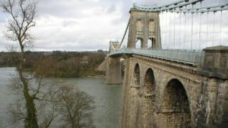 Photo of the first Menai Strait bridge, built in the early 19th Century