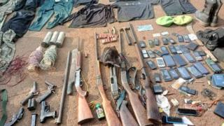 Guns and phones wey army collect from separatists dem