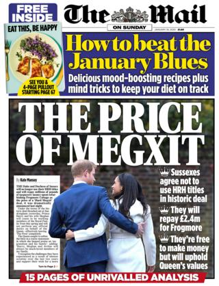 The Mail on Sunday front page 19/01/20