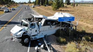 The aftermath of a tourist bus crash in Utah, September 2019