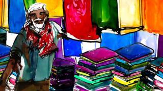 Ilustração de homem idoso em loja de roupas