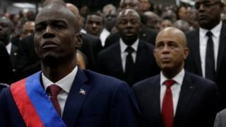 Jovenel Moise (left) and Michel Martelly at the swearing in ceremony