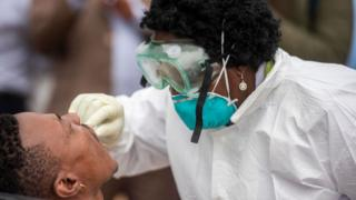 The Gauteng government deployed a team of health workers to the Stjwetla informal settlement to test people for COVID-19 on day 5 of National Lockdown on March 31, 2020 in Alexandra, South Africa