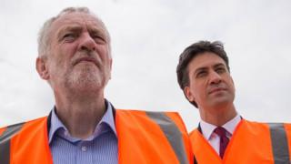 Jeremy Corbyn with predecessor as Labour leader, Ed Miliband