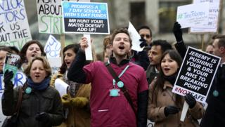 Protesters outside St Thomas' Hospital in London during the junior doctors' strike