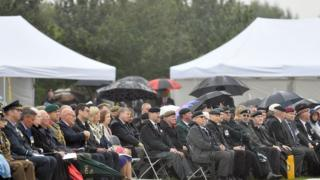 """General view of a Royal British Legion event at the National Memorial Arboretum in Staffordshire to mark the 50th anniversary of the UK Armed Forces"""" deployment in Northern Ireland."""