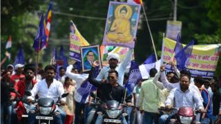 Dalit protesters on the roads in Uttar Pradesh