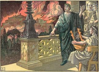 Ilustração mostra Nero observando Roma em chamas