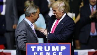 Nigel Farage and Donald Trump during a US presidential election campaign rally