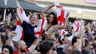 England football fans celebrating