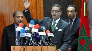 Abdulhak Hayyam, chef de la division anti-terroriste de la police marocaine face à la presse à Sale le19 février 2016