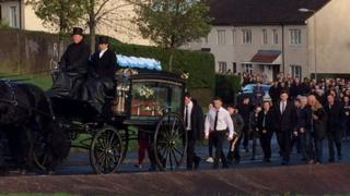 The funeral procession made its way to the Church of the Annunciation