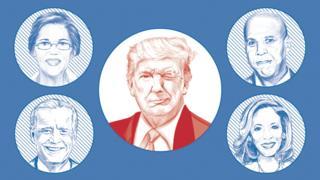 Image showing Donald Trump winking at possible Democratic challengers Elizabeth Warren, Cory Booker, Kamala Harris and Joe Biden.