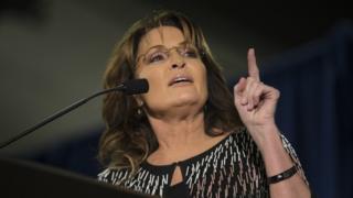 Former Alaska Governor Sarah Palin speaks in Iowa on 19 January 2016