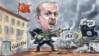 Karikatürde, Cumhurbaşkanı Erdoğan elinde bir silahla çevresi PKK, PYD, IŞİD bayrakları ve Gülen okullarıyla sarılmış olarak gösteriliyor.