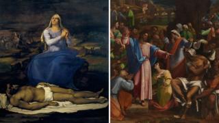 (from left) Sebastiano del Piombo's Lamentation over the Dead Christ ('Pieta') and The Raising of Lazarus