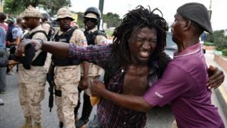 Protester in Haiti, 17 Dec 15