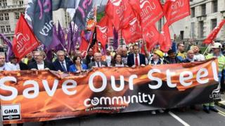 Steel workers protest in London