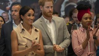 "Harry, Duke of Sussex, Meghan, Duchess of Sussex and Nelson Mandela""s granddaughter Zamaswazi Dlamini-Mandel"