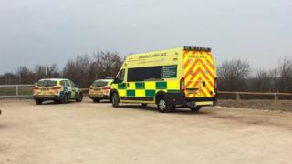 Police cars and ambulance at Gedling Country Park