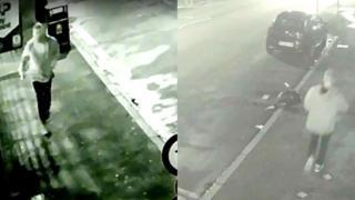 CCTV footage of man wearing a baggy grey hooded top