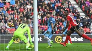 Sergio Aguero na jefa kwallo a ragar Sunderland