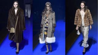 Gucci models wearing fur