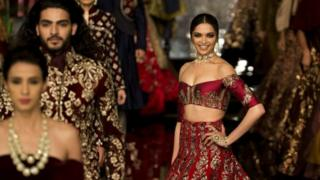 Bollywood actress Deepika Padukone displays a creation by India designer Manish Malhotra in Delhi (20 July 2016)i