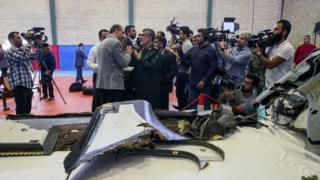گرائے جانے والے امریکی ڈرون کا ملبہ میڈیا کو دکھایا گیا
