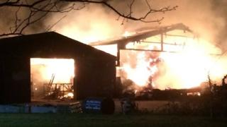 Fire at a farm in Sherborne
