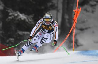 Thomas Dressen from Germany competes for the Alpine World Cup in Val Gardena, Italian Alps.