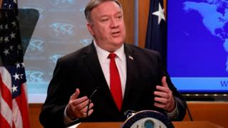 Pompeo at a news briefing
