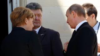 Putin, Poroşenko ve Merkel