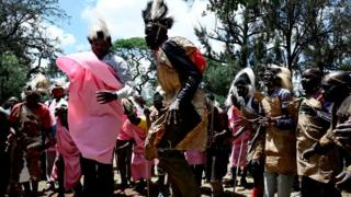 Members of Sengwer community in traditional clothing dance on Monday 7 October 2019