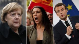 Angela Merkel, una manifestante española y Emmanuel Macron
