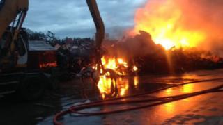 Scrap yard fire