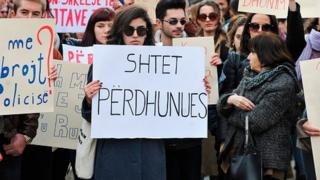A protest against alleged rape of the teenager that erupted in Pristina in February