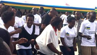 Misinitiri ushinzwe ubuzima, Madame Binagwaho, mu birori byo kurwanya ibiyobyabwenge mu rubyiriko mu Rwanda