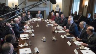 resident Donald Trump (3-R) holds a meeting with members of his cabinet in the Cabinet Room of the White House on March 13, 2017 in Washington, DC.