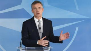 Nato Secretary-General Jens Stoltenberg gives press conference after Nato-Russia meeting in Brussels on April 20, 2016