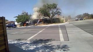 Fire fighters battle flames in Ridgecrest