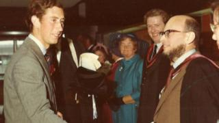 William Dieneman, right, former librarian at Aberystwyth University, meets Prince Charles