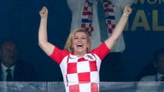 Kolinda Grabar-Kitarović em uma partida no Mundial da Rússia