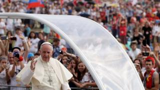 Pope arrives at the mass - 31 July