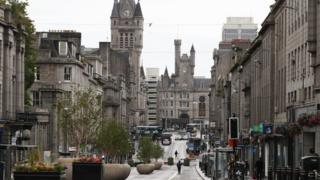 sports Union Street in Aberdeen after bars, cafes and restaurants have been ordered to close as lockdown restrictions are re-imposed in over a coronavirus cluster in the area